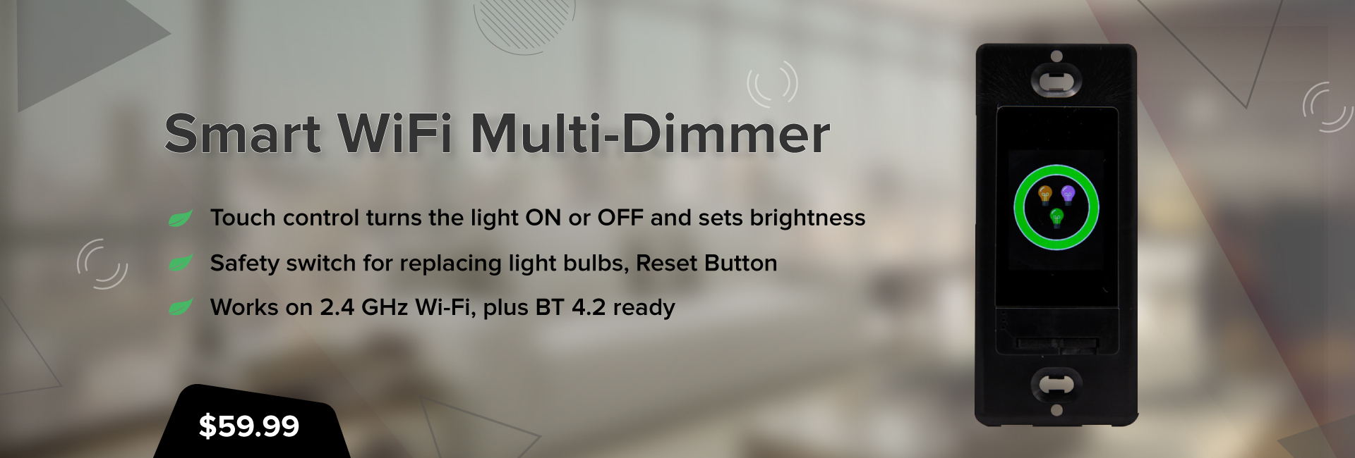 Smart WiFi Multi-Dimmer Black